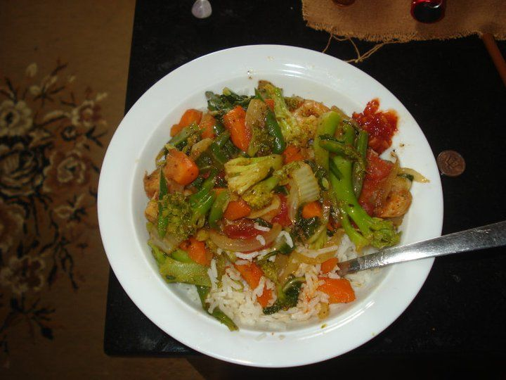 All time favourite......basmati rice with stir fry veg and shrimp