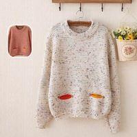 Cute dibujos animados salvaje suéter de cuello redondo de cobertura suéter manga larga de tocar fondo japonés Sen línea para mujer 2015 Hitzcasual moda