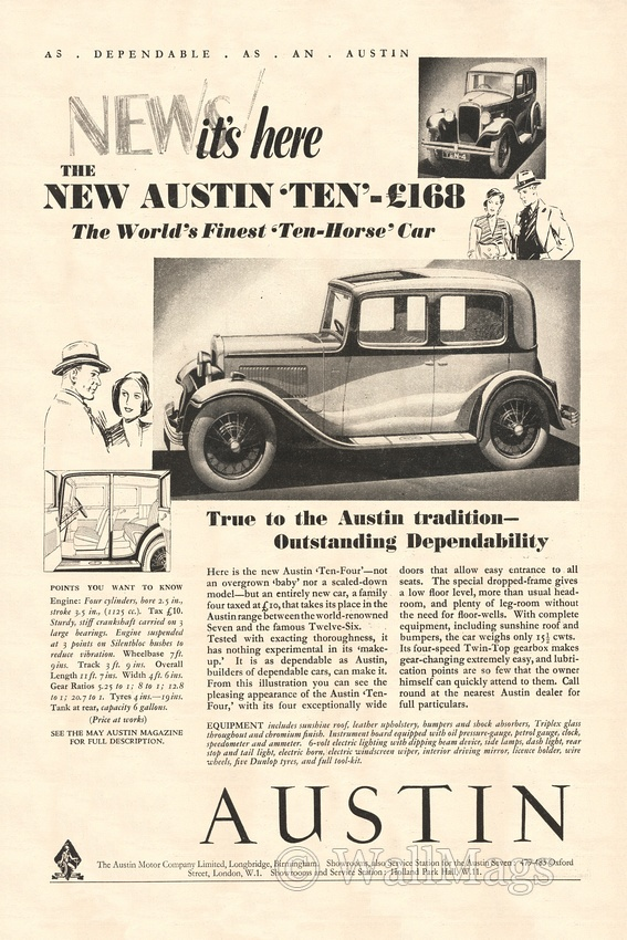 Austin Car Ad From 1932. Scanned from an original 1932 Punch magazine.