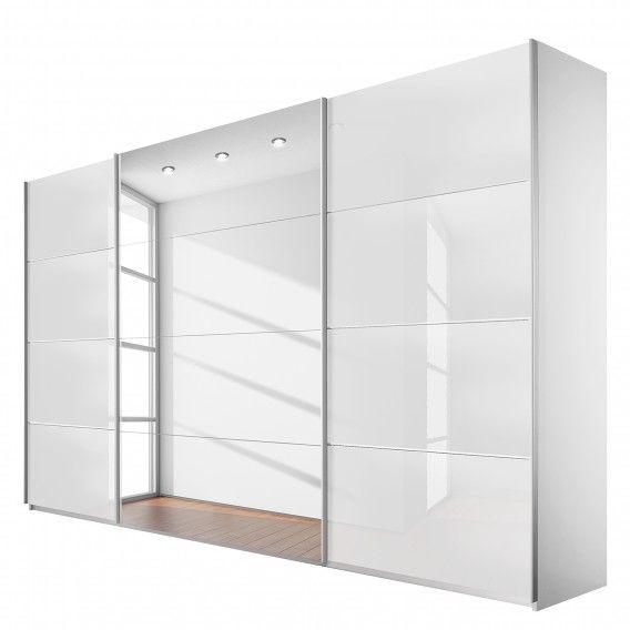 Schwebetürenschrank Quadra (Spiegel) - Alpinweiß / Glas Weiß | Home24