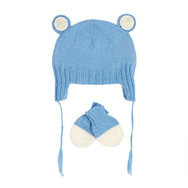The Acorn Baby Bear Infant Cashmere Set Blue includes a handknitted infant hat with baby bear ears and side ties and matching mittens. Made from Cashmere and Merino Wool, this set comes in Acorn gift box. Perfect for a baby shower or newborn gift idea.  Size Guide: XXS = 0-3mths XS = 3-6mths S = 6mths Ð 2yrs M = 2-4yrs L = 4-10yrs