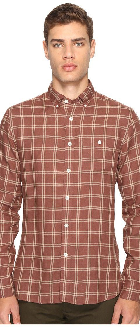 Todd Snyder Linen Windowpane Shirt (Brown) Men's Clothing - Todd Snyder, Linen Windowpane Shirt, SH027046, Apparel Top General, Top, Top, Apparel, Clothes Clothing, Gift, - Street Fashion And Style Ideas