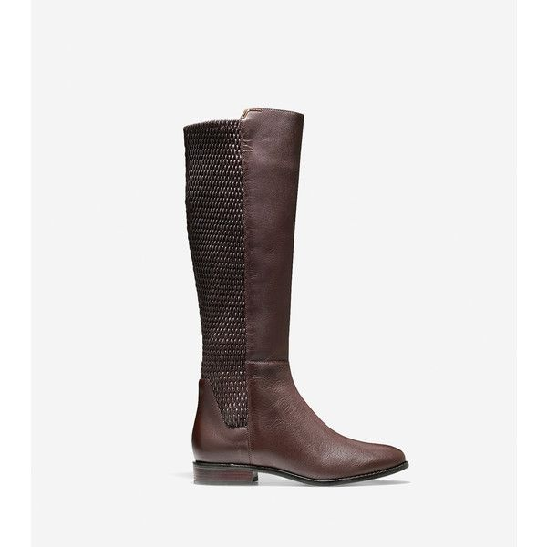 Cole Haan Womens Rockland Boot ($200) ❤ liked on Polyvore featuring shoes, boots, chestnut leather, stretch knee high boots, cole haan boots, real leather knee high boots, leather upper boots and leather riding boots