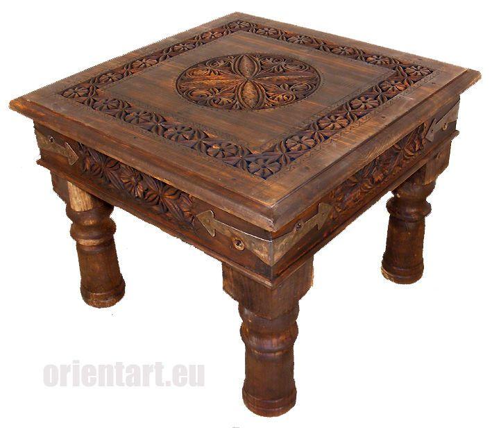 60x60 Cm Antik Look Kolonialstil Orient Teetisch Tisch Couchtisch Nuristan Nr 9