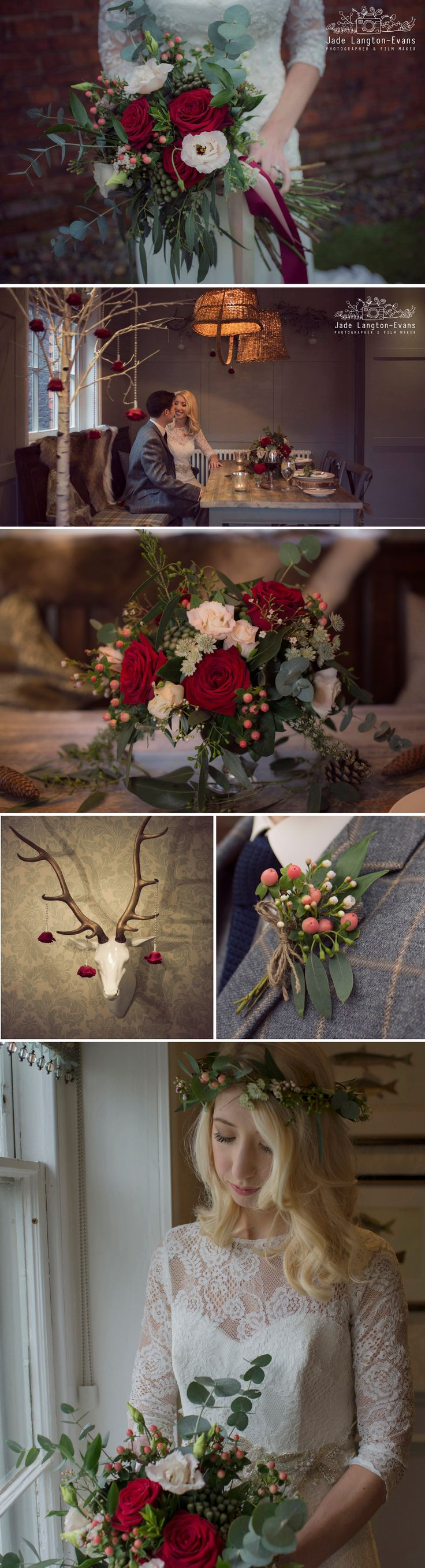Florissimo, Shropshire | Trends 2017 | Bohemian-chic large hand-tied bridal bouquet of red roses, blush pink lisianthus, white astrantia, red hypericum berries, brunia berries, japonica blossom, eucalyptus and seeded eucalyptus. Roses hanging on silver beads. Buttonhole of japonica blossom, hypericum and eucalyptus. Floral crown of astrantia, hypericum, seeded eucalyptus and ruscus. Styled winter wedding photoshoot, The Townhouse, Oswestry