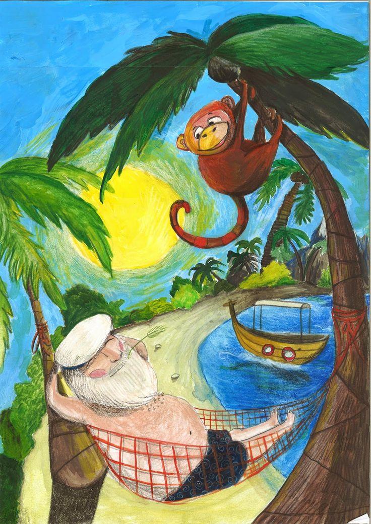 #Illustration #kinder #children #affe #urlaub #entspannung #insel #palme #meer #seefahrer #strand #dominique kleiner
