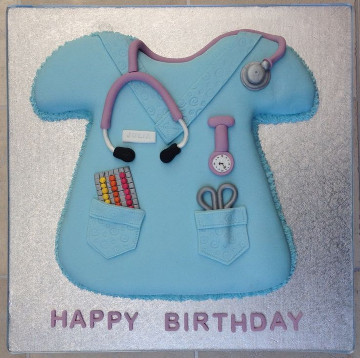 Birthday cake for a midwife. Fondant stethoscope, watch, pills, scissors, name badge x