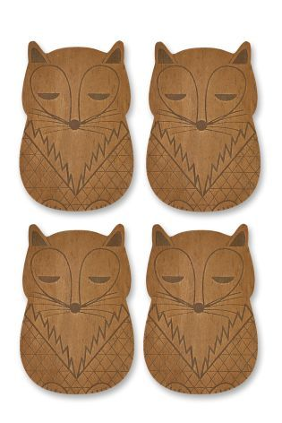 Buy Set Of 4 Wood Effect Fox Coasters With Holder online today at Next: Israel