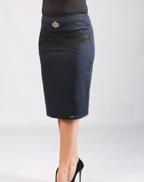Офисная женская юбка с ажурным украшением, фото 1