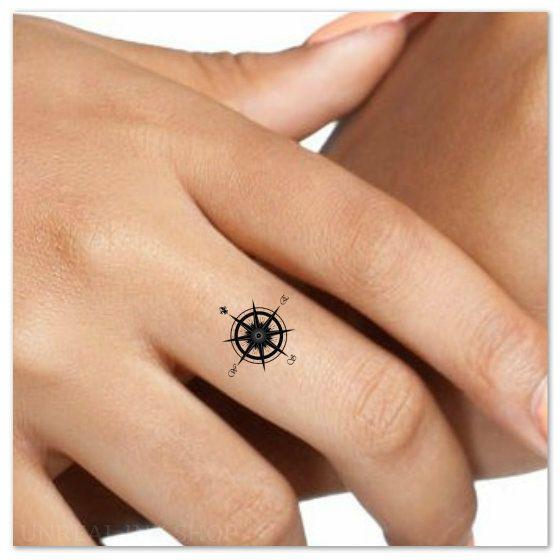 Temporary Tattoo Compass Finger Waterproof Fake by UnrealInkShop