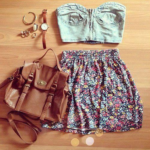 Floral Skirt and Denim Crop Top w/leather bag and accessories- this is really cu