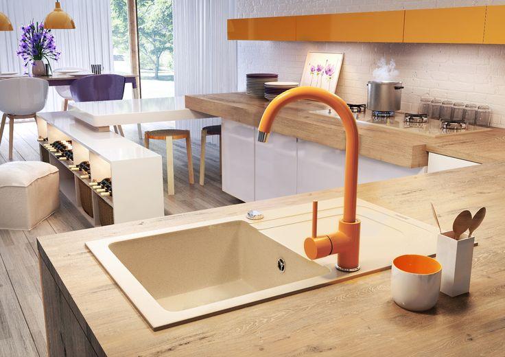 Kitchen with orange mixer, Deante.