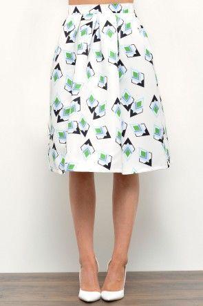 Anya Graphic Print Skirt in Cream
