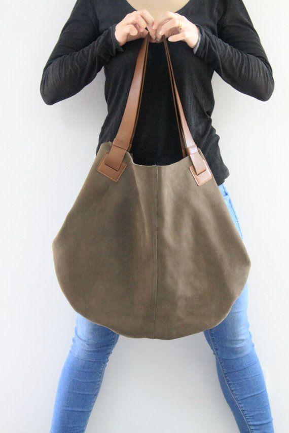 Olive Gree Leather Tote Bag Soft Leather Bag  por LadyBirdesign