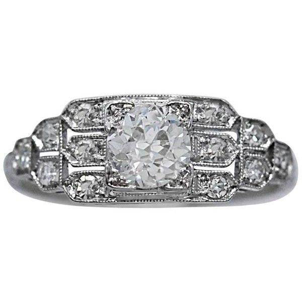 Preowned Art Deco Platinum Engagement Ring .65 Carat Diamond ($4,130) ❤ liked on Polyvore featuring jewelry, rings, engagement rings, multiple, pre owned engagement rings, pre owned diamond rings, antique engagement rings, platinum diamond rings and diamond jewellery