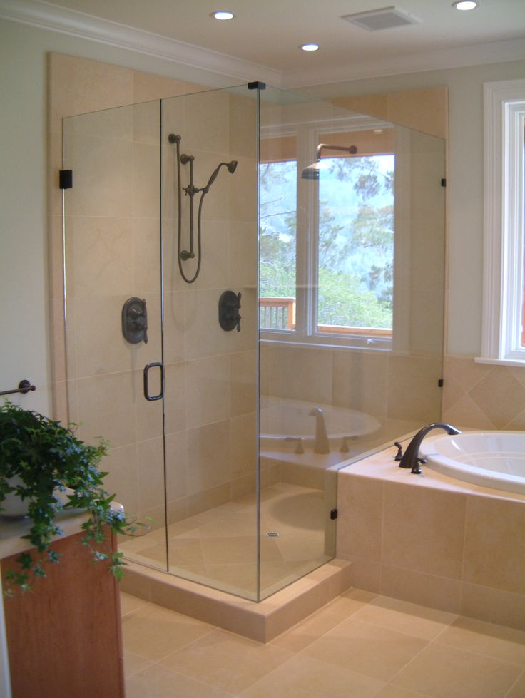 Frameless shower door with door and panel inline and a 90 for Bathroom enclosure designs