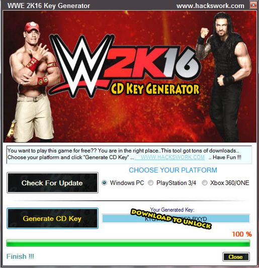 how to  activation key for wwe 2k16