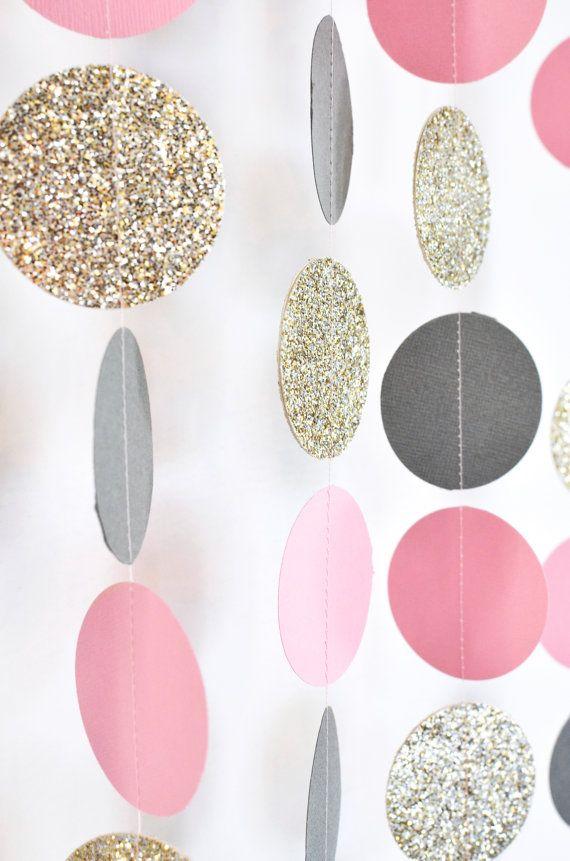 Pink Grey Gold 10 ft Paper Garland by DesignElementsByErin on Etsy
