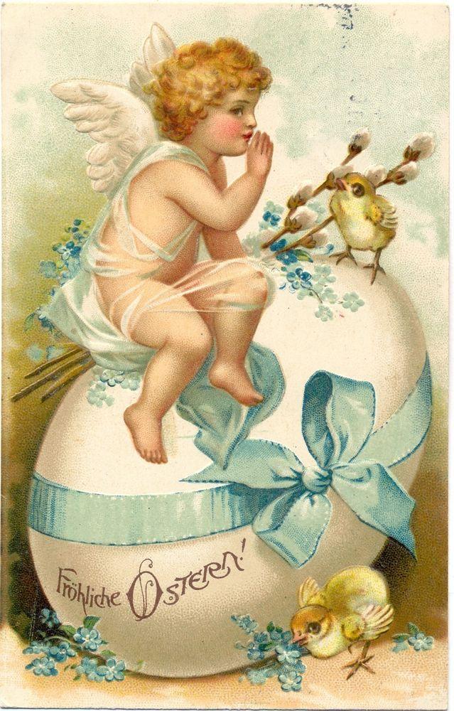 Ostern, Engel, Küken, großes Ei, Prägekarte, 1910