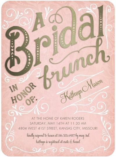 Bridal Brunch - Signature White Bridal Shower Invitations in Rose or Peppermint | Petite Alma
