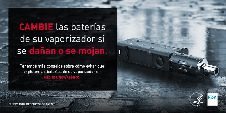 Cuando no se toman precauciones, las baterías de vaporizador pueden explotar. Aprenda a reducir el riesgo de una explosión: https://go.usa.gov/xntxQ
