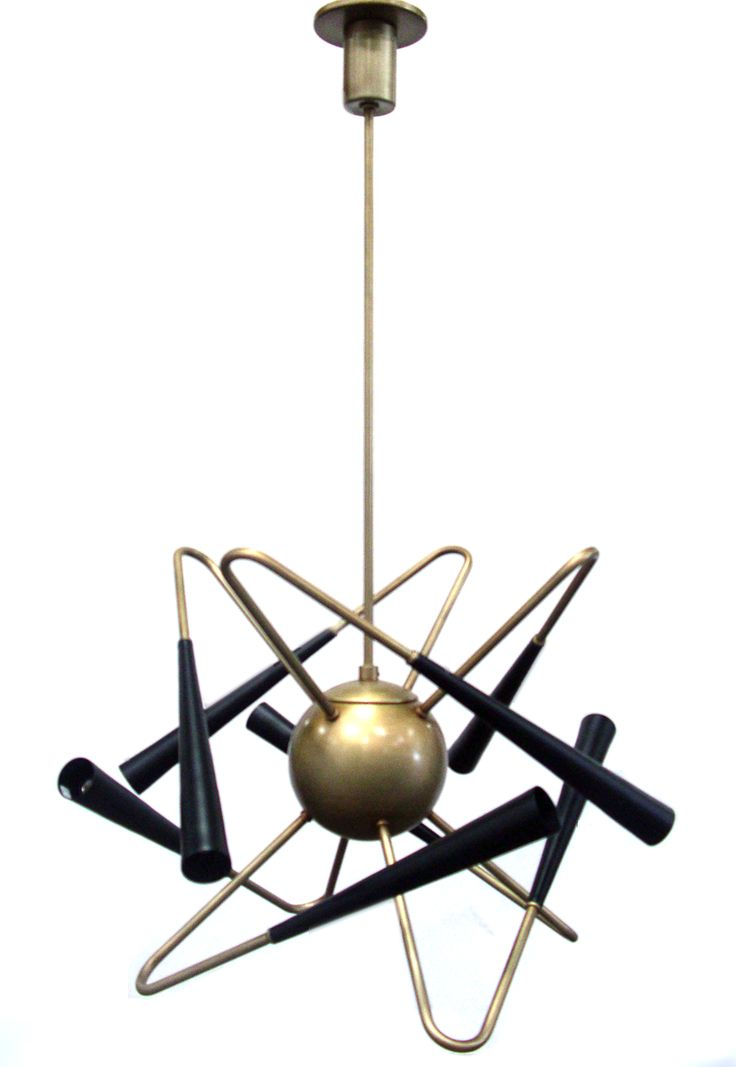 Pendant Lighting | Black N Brass 6 Arm Pendant | Custom Made by iWorks