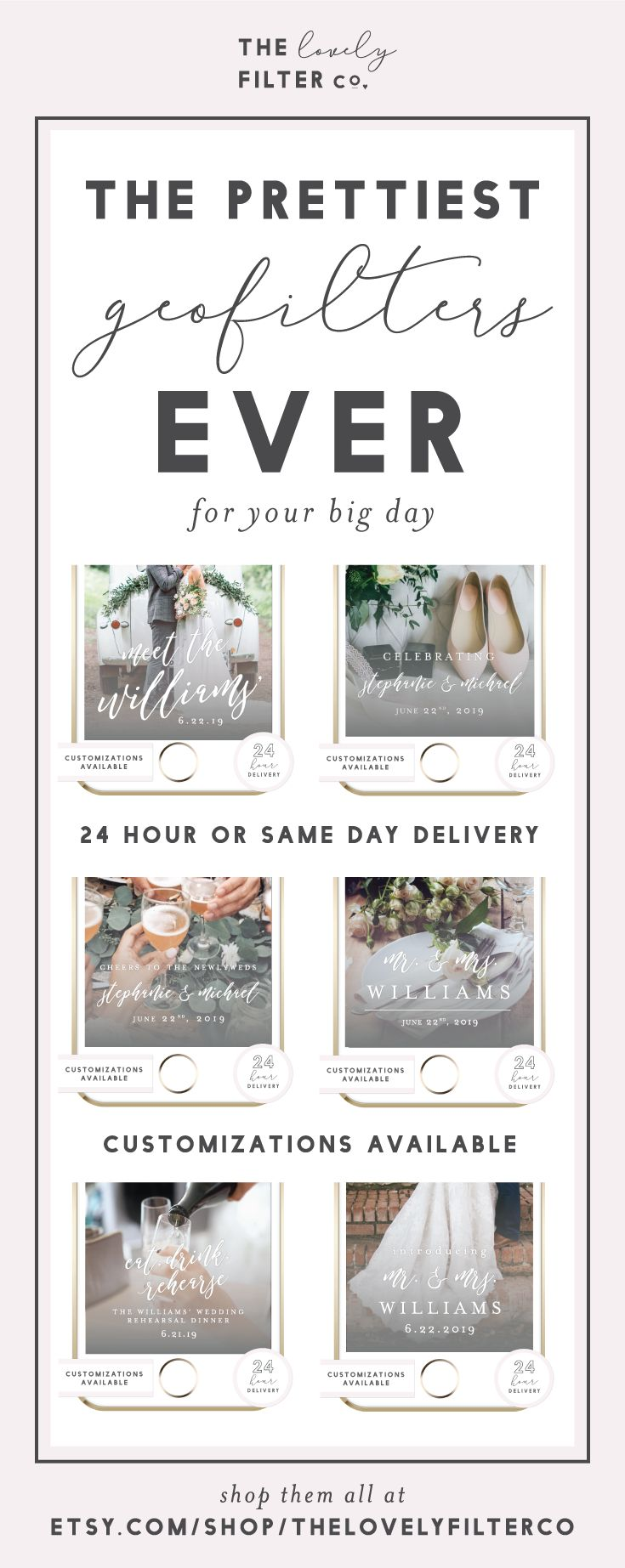 The prettiest Snapchat Geofilters customized and professionally designed for your weddings and celebrations! Click through to shop the full collection of filters for your wedding or celebration! ♥ The Lovely Filter Co.