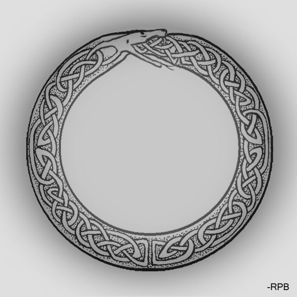 celtic style ouroboros ~similar to my first tattoo, though the knotwork is inside the circle created by the ouroboros.