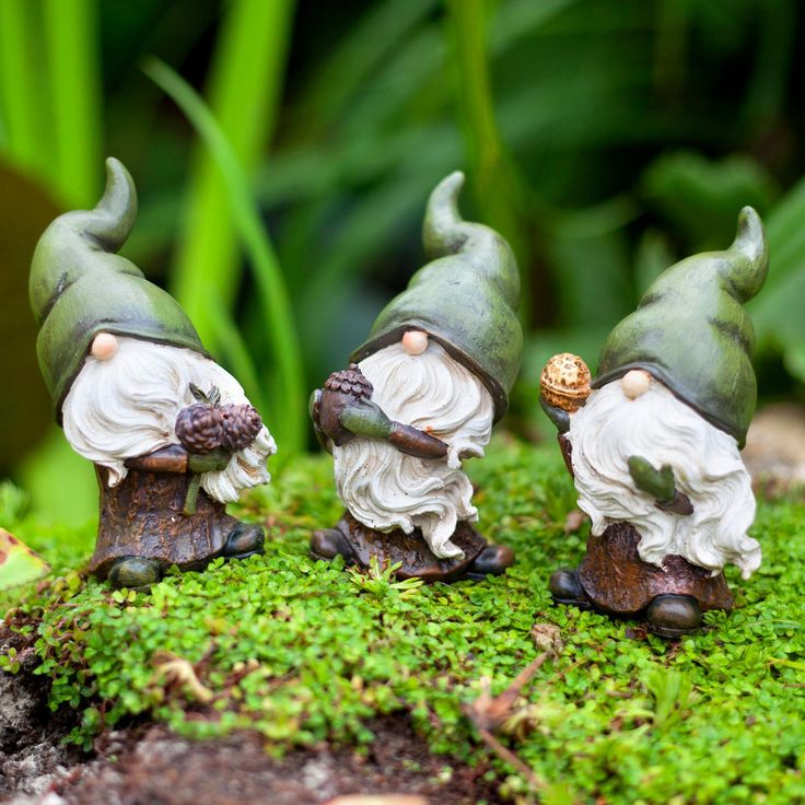 Garden Gnome Birch, Flint & Forest the Seed Collecting Ornament Figurine Trio #Gardens2you