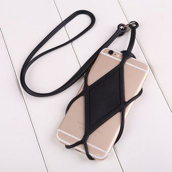Suave Silicona Lanyard Sling Holder Soporte Para Teléfono Celular IPhone Negro Conveniente