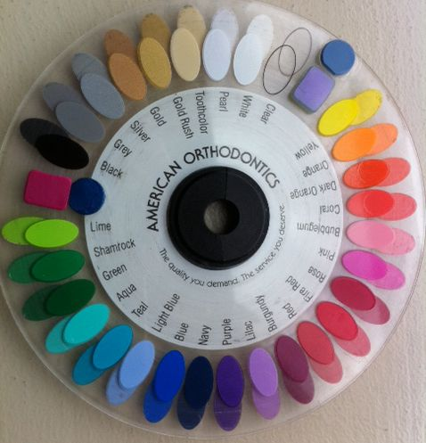 If you wonder what color braces you can get, here is the color wheel! Ignore the little stickers to fill spaces.