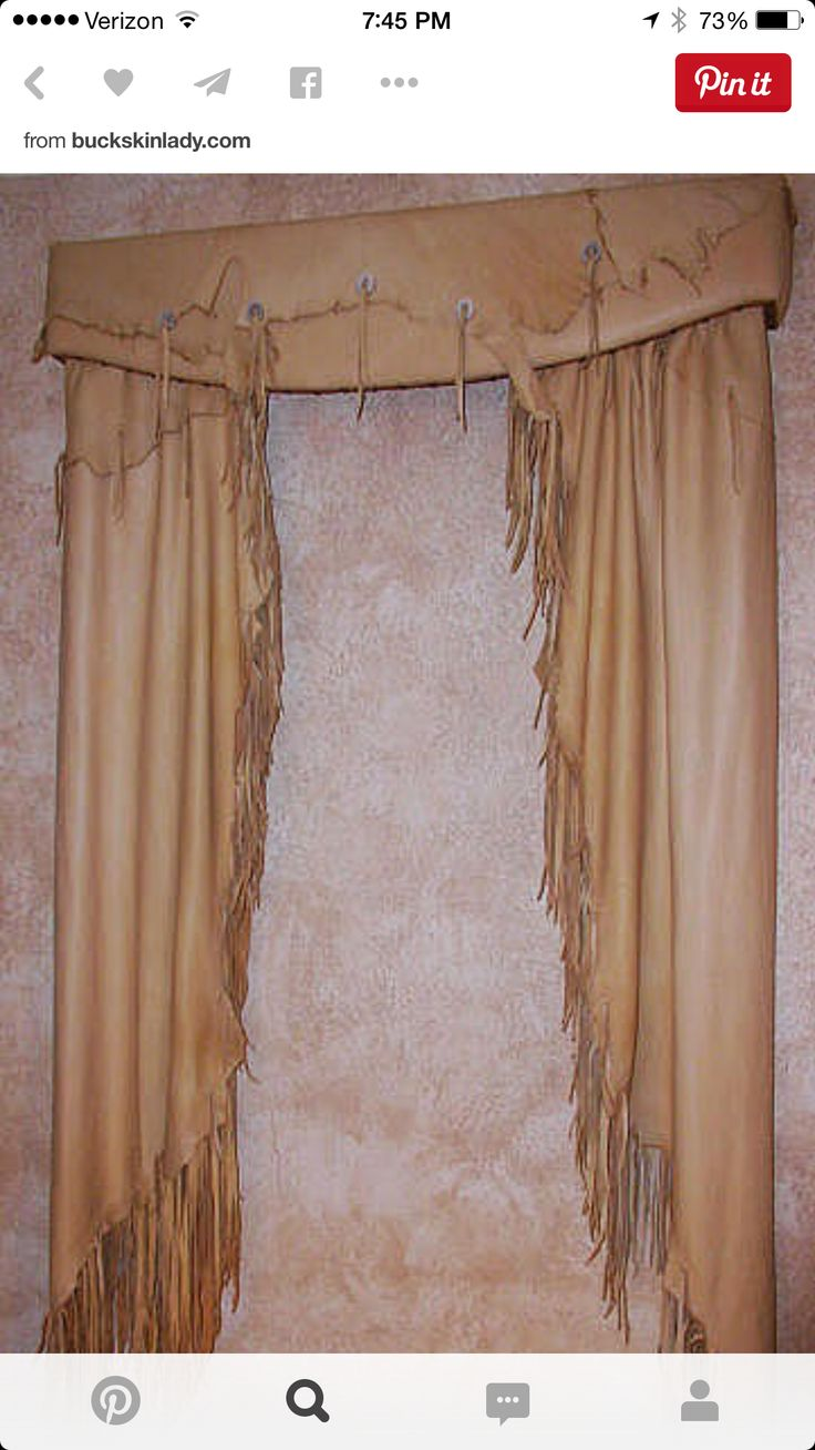 Reserved for valry fetrow wooden cornice primitive picture - Western Style Fringed Leather Curtains And Valance