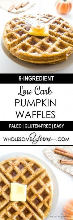 Flourless Pumpkin Waffles (Paleo, Low Carb) - These flourless pumpkin waffles are low carb, paleo, and easy as can be. | Wholesome Yum - Natural, gluten-free, low carb recipes. 10 ingredients or less.