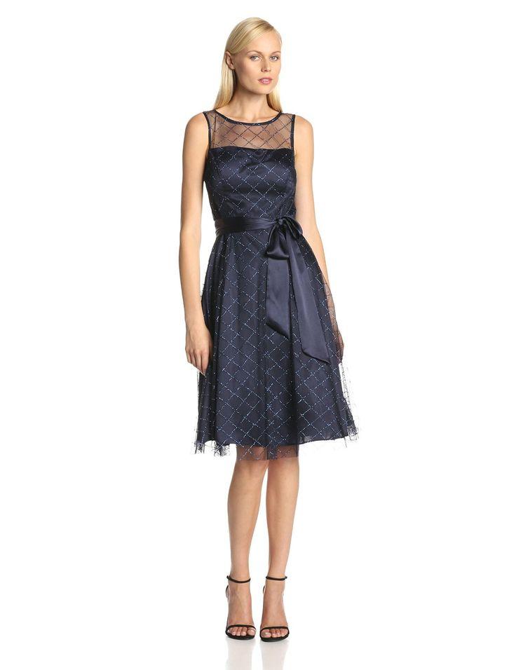 sleeveless sash belt dress with glitter detail by