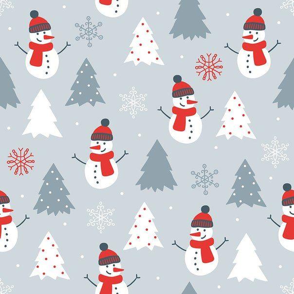 Зимний фон с ёлками и снеговиками.