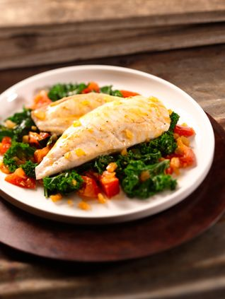Italian Grilled Tilapia with Kale and Tomato