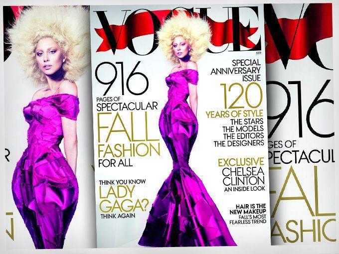 Es impresionante lo que puede hacer el photoshop, sobre todo a las personas que viven de su imagen, haciendo que los demás nos sintamos los más gordos y feos del planeta.  Lady Gaga no es precisamente una belleza, sin embargo el photoshop hace maravillas por ella. Como saben, Gaga estará en la portada de Vogue que sale este otoño, luciendo un hermoso vestido de Marc Jacobs.