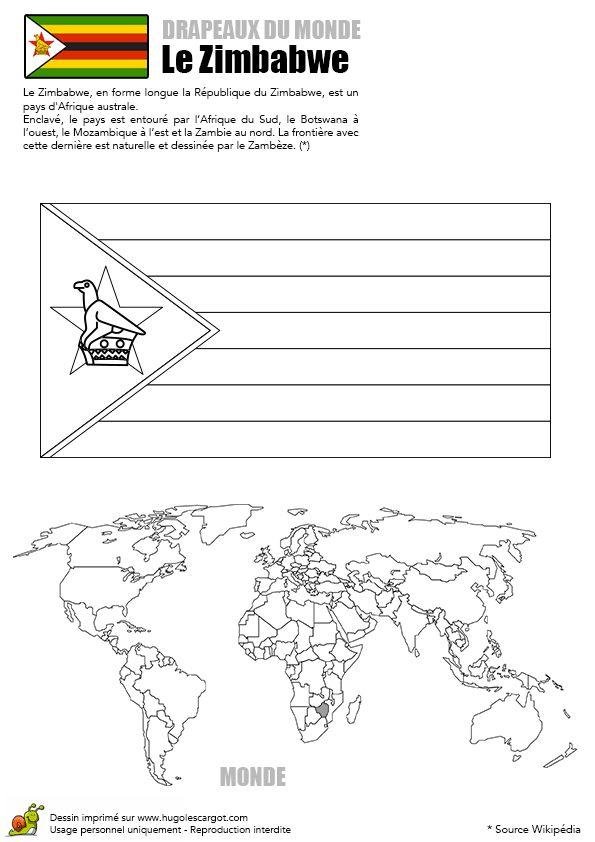 Le drapeau du Zimbabwe à colorier