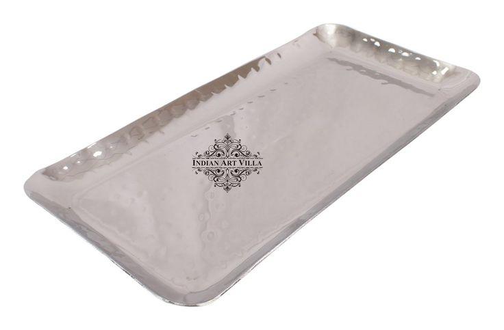Hammered Rectangular Steel Tray Platter, For Serving Dishes,Tableware, Set Of 2