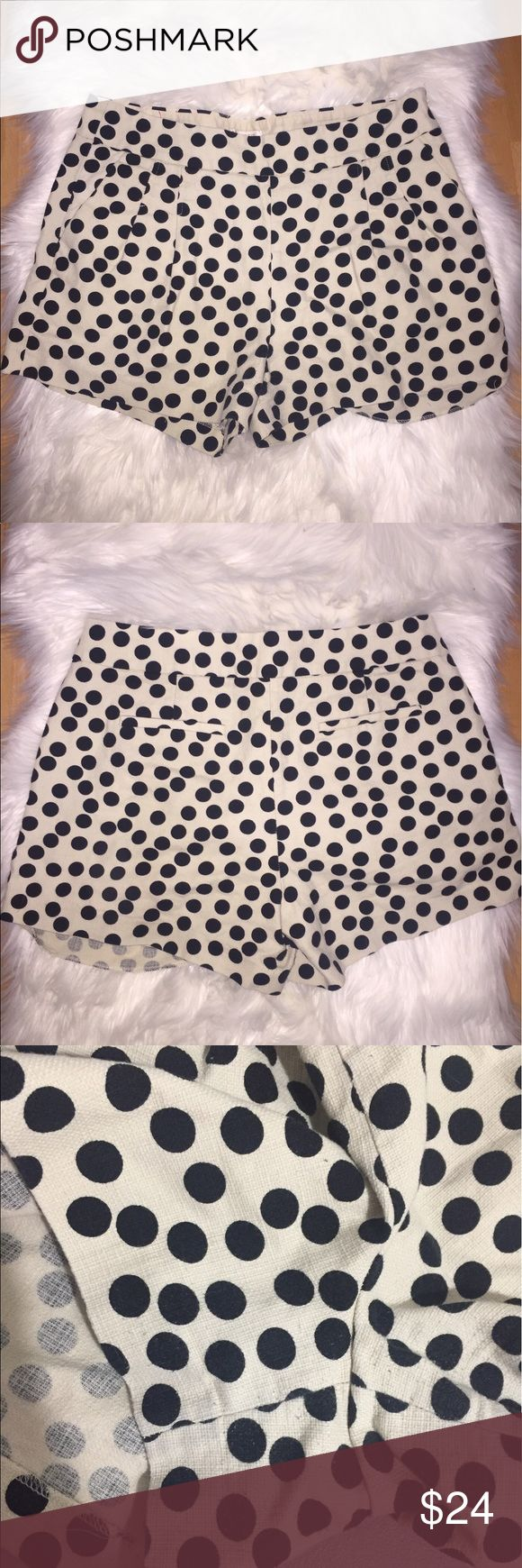 """J.Crew factory cotton Polka dot shorts Size 10. Great condition.Garment is 12.5"""" long. Crotch from hem is 11"""". Waistband 34"""". hips 40"""". Zips up from the left side. Has front and back pockets. Minimal wear on the crotch (refer to last picture). J. Crew Factory Shorts"""