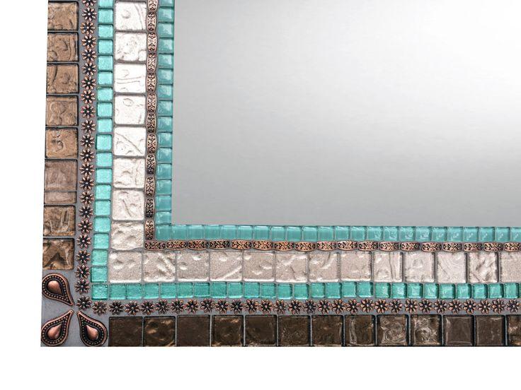 Large Mosaic Mirror, Beach House Decor, Copper Aqua Brown by GreenStreetMosaics on Etsy https://www.etsy.com/listing/480978140/large-mosaic-mirror-beach-house-decor