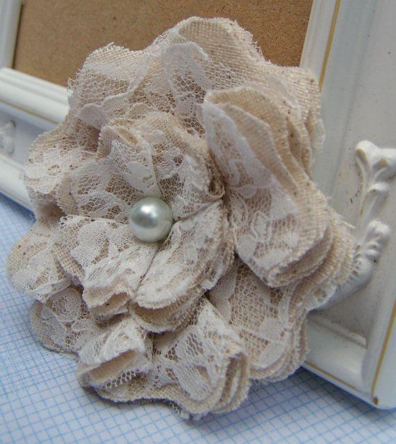 Fleurs en tissu Chic minable dentelle lot de 2 - mariages, broche, Barrette, collier, bandeau