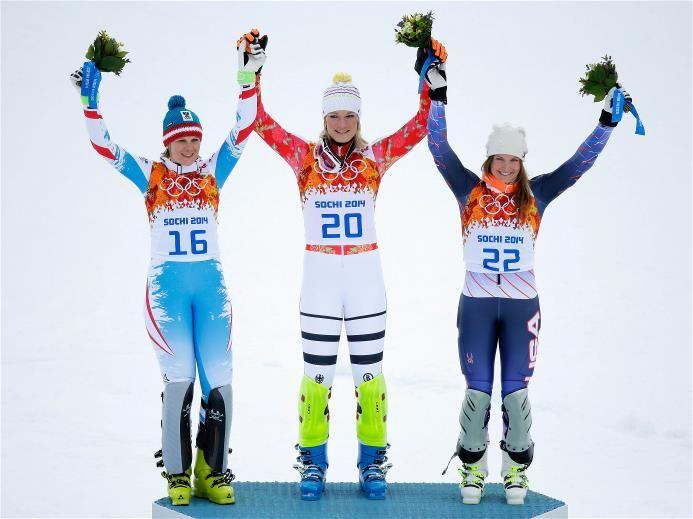 Sochi 2014 Day 4 - Alpine Skiing Women's Super Combined Slalom (Nicole Hosp of Austria - Silver, Maria Hoefl-Riesch of Germany - Gold, Julia Mancuso of USA - Bronze)