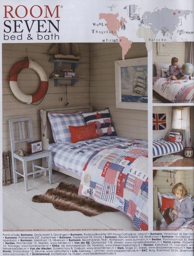 Room Seven: wit-blauw-rood  via Ariadne at Home kids  Room Seven bad en bed o.a. verkrijgbaar via www.beddengoedkoop.nl