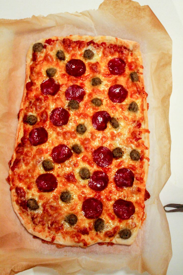 Pizza with meatballs and pepperoni