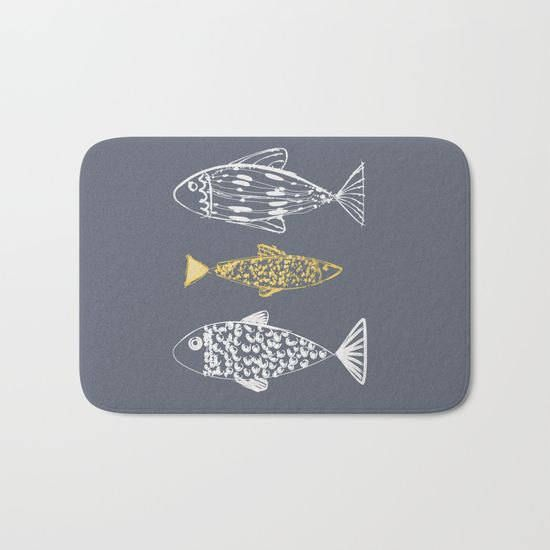 Fishes Bath Mat Nautical Personalized Small Large by Lulais
