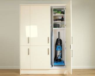 CUPBOARD: ironing board, hoover and cleaning products