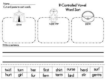 r controlled vowel er ir ur word sort a line gossip news and look at. Black Bedroom Furniture Sets. Home Design Ideas