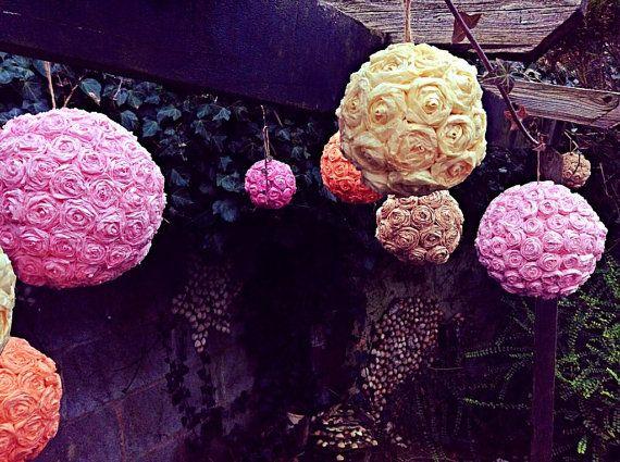 Tissue Paper Flower Ball Kissing Rose Ball Wedding by InsideMyNest