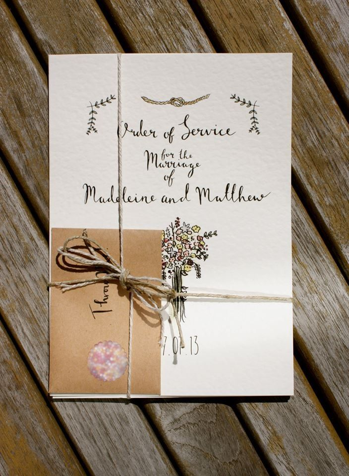 Wedding stationery by Rebecca McMillan Illustration. Order of Service.